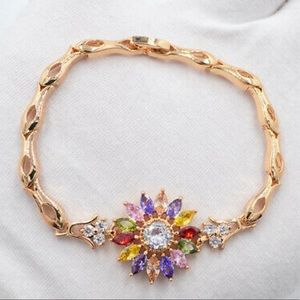 Multi color birthstone gold bracelet